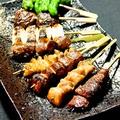 料理メニュー写真鶏もも・鶏皮・レバー・砂肝・ハツ・ハツもと・ヤゲン軟骨・ぼんちり・ネギ