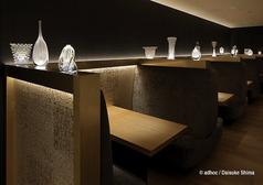 店内に飾られている硝子工芸品は全て富山の安田泰三氏の作品です。展示品の一部は実際にお買い求めすることも可能です。※詳しくは店員にお尋ねください。
