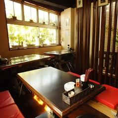 テーブル席は3つあり、二つは6名席、残り一つは4名席となっていますが、どの席もつめれば1、2名は追加で座れますよ。