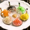 料理メニュー写真ピンク→麻辣(マーラー)味/黄色→チーズ/緑色→セロリ