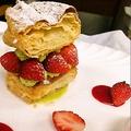 料理メニュー写真いちごとピスターチオのミルフィーユ