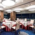 【水仙・梅の間 10名~30名様】 最大30名様までご利用いただける完全個室。グランフロント大阪など大阪・梅田のパノラマ夜景が楽しめます。パーテーションで分けることも可能です。