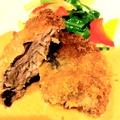 料理メニュー写真マグロほほ肉のカツレツ アンチョビクリームソース