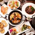 ◆パーティーコース4500円◆一番定番!ラ・サルテン名物『魚貝たっぷりパエリア』をお楽しみいただける、定番パーティーコースです。その他にも、『パテ・ド・カンパーニュ』や『本日のキッシュ』などワインとの相性抜群の前菜や、『本日のおすすめ肉料理』もついた大満足のコース♪