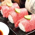料理メニュー写真和牛炙り寿司 (3貫)