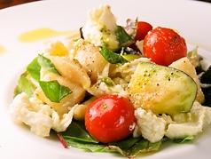 料理メニュー写真水ナスとトマトとモッツァレラチーズのサラダ