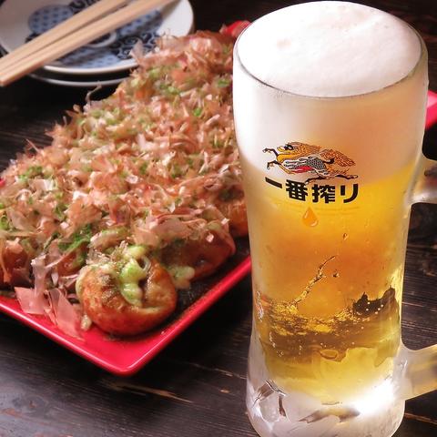 高円寺の街ぶらついでにたこ焼きで1杯♪【たこ焼き&とん平焼き ちょい飲みセット】