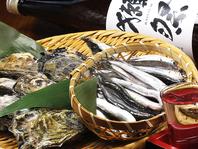旬の魚介、食材を仕入れています