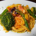 料理メニュー写真厚木りベーコンと彩り野菜のトマトクリームパスタ