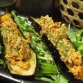 料理メニュー写真揚げ茄子の鶏そぼろのせ