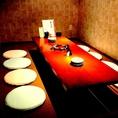 足元ゆったり寛げる掘り炬燵個室は人気のお席です。4名様から8名様迄ご利用いただけます。宴会や、合コン、女子会など4名様以上での個室をご利用されたい方におすすめです。