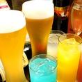 生ビール、ホワイトビール、赤白ワイン各種、サングリア、カクテル、ソフトドリンクなど…ドリンクがとにかく豊富!
