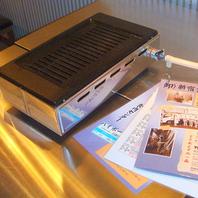 排気を外に出すガス式テーブルロースター使用!