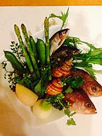 魚河岸の新鮮素材、旬の魚、野菜、お肉などに拘ります