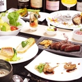 高級食材を使ったコース料理や単品でのオーダーも可能。食後のデザートも楽しみの一つです。