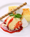料理メニュー写真NYチーズケーキ&バニラアイス