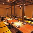 団体様大歓迎!!全席完全個室の掘りごたつ席♪だから落ち着いた空間でのんびりと会話が出来ます。また、会社宴会も出来るような団体席も完備!