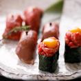 国産牛肉寿司。それぞれ特徴のある味をご堪能ください!
