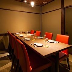 【落ち着いた雰囲気の完全個室】暖色系のライトに照らされた温かい雰囲気の完全個室です。木目調のテーブルが優しく落ち着いた空間をつくっています。限定1部屋のお席なので、ご予約はお早めにお願いいたします。4~8名様までご利用いただけます。
