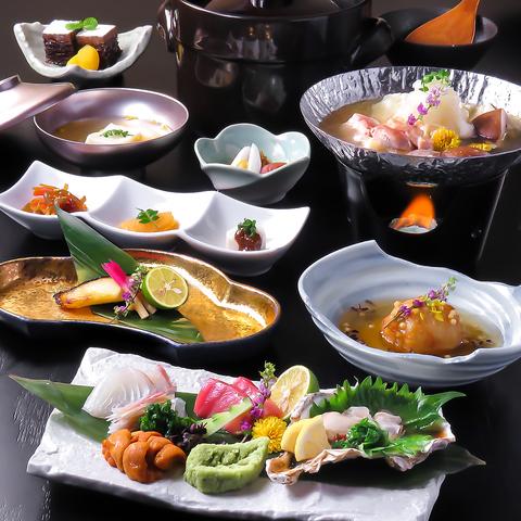 【季節のお造り/特製みぞれ水炊き/銀鱈の西京焼き】彩コース全8品7700円(税込)※お料理のみ