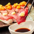 料理メニュー写真肉寿司5貫盛り合わせ
