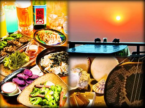 目の前に広がる海を見ながら、新鮮食材をふんだんに使った沖縄の家庭料理を楽しめる!