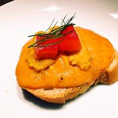 料理メニュー写真赤ピーマンのムースと雲丹