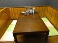 6名様でご利用いただけるテーブル席。ご家族や仲間内などでご利用いただけます。お食事はもちろん、食べ飲み放題、チャレンジセットなどもお薦め!