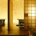 茶室のにじり口のような入り口からはいる和みの完全個室。最大16名様までOKで、ご宴会からご接待まで使い方は様々。