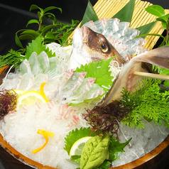 料理メニュー写真釣った鯛で活き造り/塩焼き/煮付け/酒蒸し