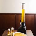 【ビヤタワー貸出無料!!】飲み放題付コースをご利用いただいた方限定の無料オプションサービスとして、迫力満点の3Lのビールが入るタワー型サーバー 通称:ビヤタワーのご用意も承ります。存在感抜群でご宴席もグッと盛り上がること間違いなしです!(※台数に限りがございます。早めのご予約をお願い致します。)