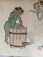 勝川春章の肉筆画、雷様の行水。夏を感じさせる一枚!