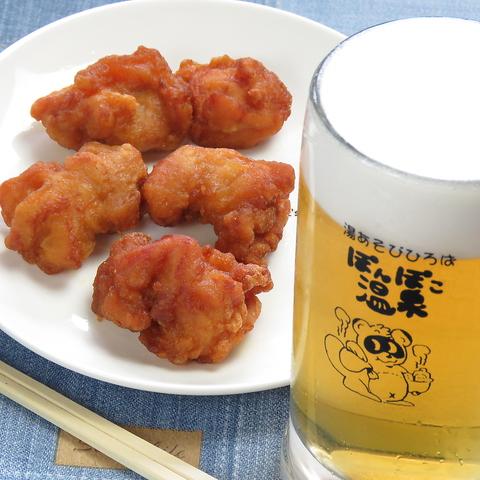 【人気NO1☆】ジューシー唐揚げとビールのちょいのみSET◇850円⇒800円