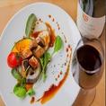 【ワイン×フォアグラソテー】和の食材にとらわれないGARYUのお料理にはワインとも良く合います。