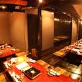 20~30名様向け団体様用掘りごたつ個室。テーブルはL字型になりますが、左右、皆様が見渡せる個室空間です。団体様のご予約はお早めにご連絡を。