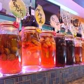 カウンターに並ぶ自家製漬け込みハイボール☆見て楽しい飲んでおいしい!!