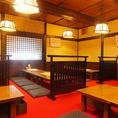 2015年に改装したばかりのお座敷は、昔ながらの雰囲気を残しつつさっぱりとした清潔な空間で、女性グループにも好評です。