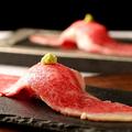 料理メニュー写真大判特選牛炙り肉寿司(一貫)