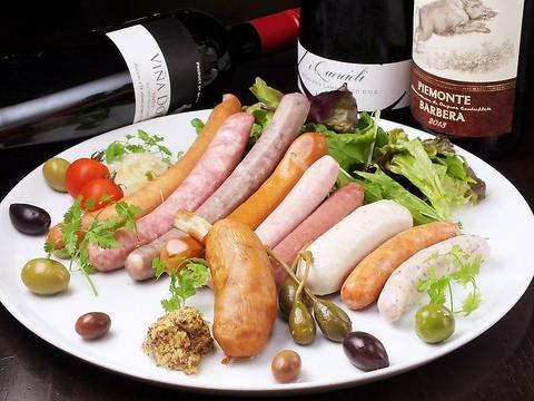 ソーセージを種類豊富にご用意。本格ワインと人気イタリアンを楽しめます♪