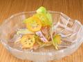 料理メニュー写真長崎天然真鯛昆布〆 × 雪うるい × 金柑たまたま