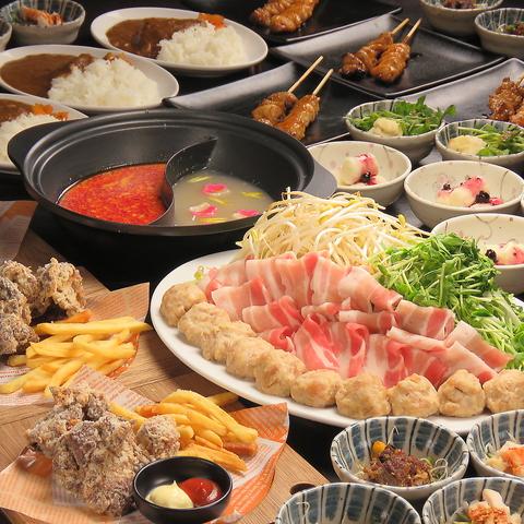 【2.5H飲放題】あっさり&濃厚スープの二色鍋コース 全8品 3,500円(税込3,850円)