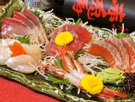 旬の魚介を市場から仕入れ