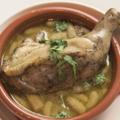 料理メニュー写真骨付き鶏もも肉のコンフィ カスレ風
