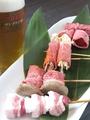 料理メニュー写真チーズベーコン・トリ・豚バラ・トマト豚巻・オクラ豚巻・アスパラ豚巻き