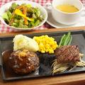 料理メニュー写真赤身ランプステーキ&鉄板焼きハンバーグ