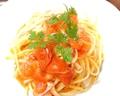 料理メニュー写真★週末バル★フレッシュトマトとベーコンの生パスタ