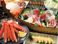 刺身3種と浜茹でずわい蟹がついた国分町限定コース2980円!