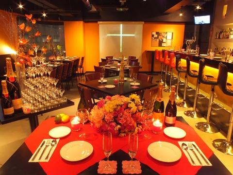 女子会や結婚式二次会に人気のカフェダイニングバー♪イタリアンコース各種有