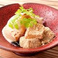 料理メニュー写真和三盆のワラビ餅と黒糖アイス