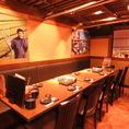 中規模のご宴会にぴったりのお席。落ち着いた雰囲気のある店内でゆったりお食事を。お客様同士適切な距離を保ちながらお過ごしください。